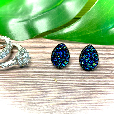 Blue Teardrop Druzy Earrings