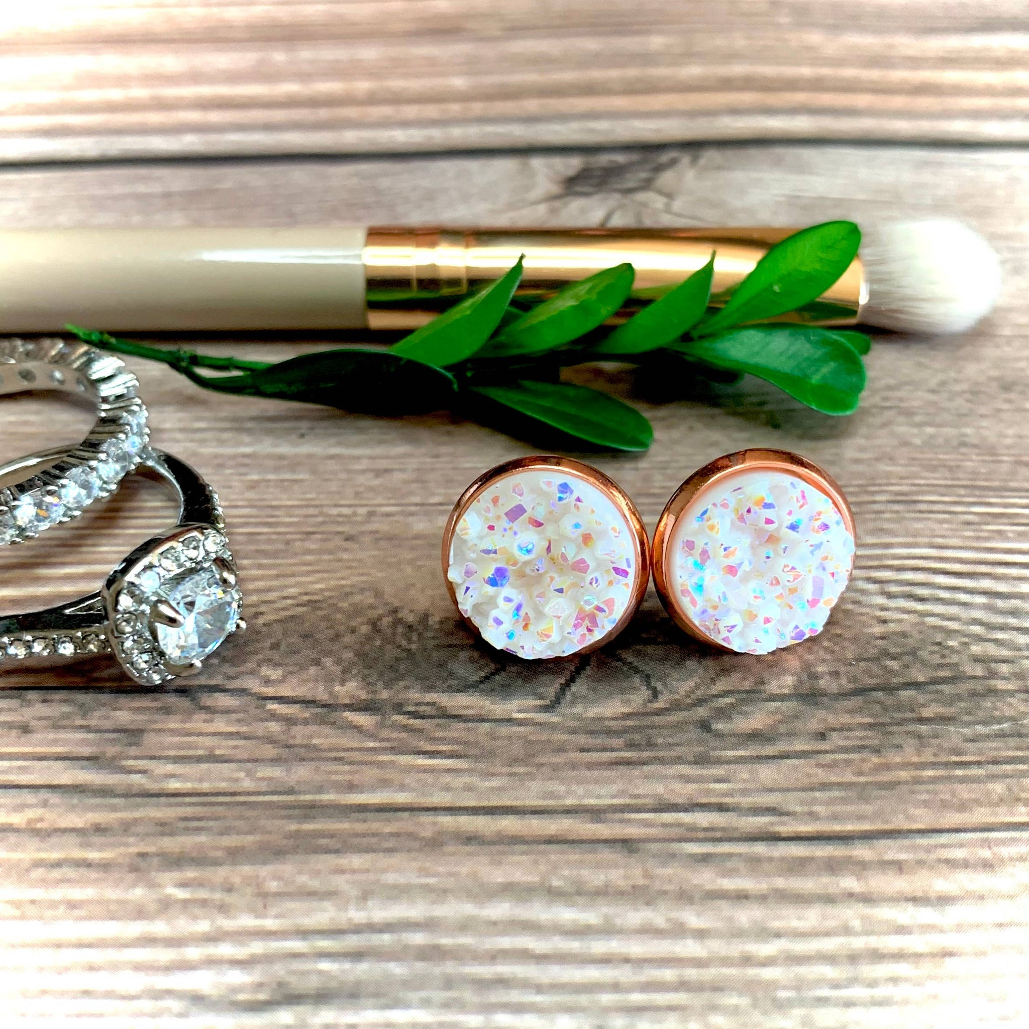 Snow White Druzy Earrings 12mm
