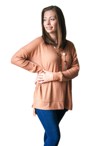 Laurin Waffle V-neck Long Sleeve Shirt