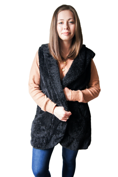 Joan Hooded Faux Fur Cape with Pockets