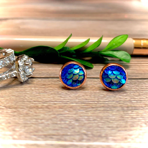Blue Mermaid Earrings 8mm