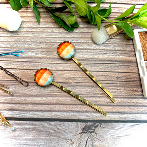 Orange Geometric Bobby Pins