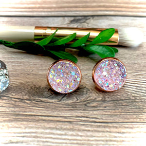 Clear Pink Druzy Earrings 12mm