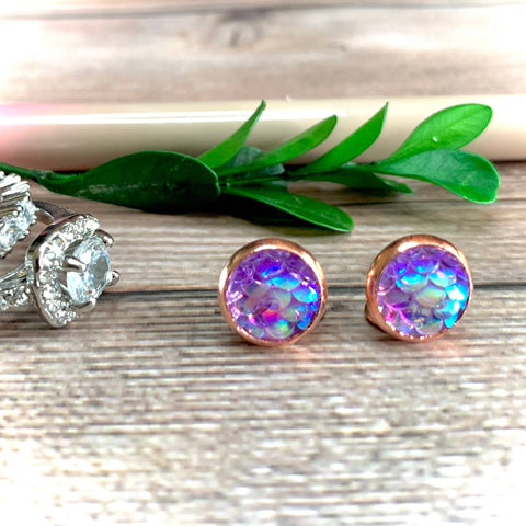Purple Mermaid Earrings 8mm
