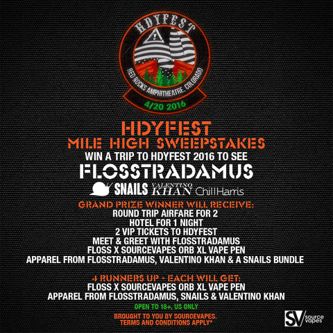 Flosstradamus SOURCE orb XL vape pen at the HDYFEST