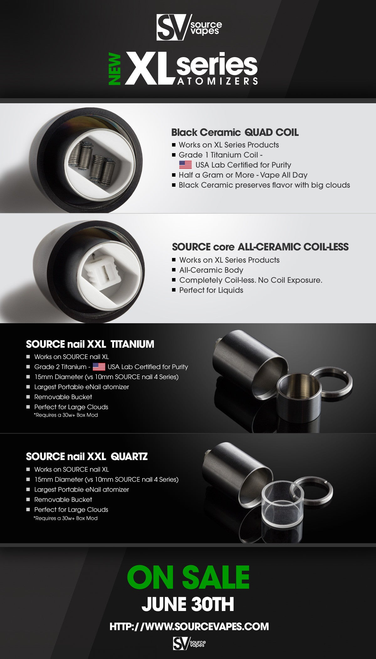 New XL Series atomizers Black Ceramic Quad Coil SOURCE core ALL Ceramic coil less SOURCE nail XXL eNail eRig SOURCE orb XL SOURCE nail XL SOURCEvapes