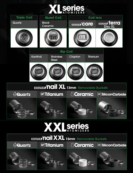 XL Series atomizers SOURCE orb XL SOURCE slim XL