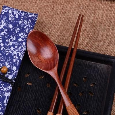 Japanese Wooden Chopsticks Beige Thread