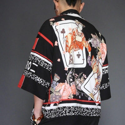 Black and red card pattern japanese kimono jacket back view