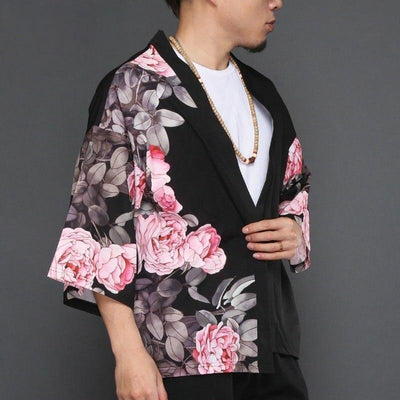 Black cherry blossom and shinobi japanese kimono jacket side view close up
