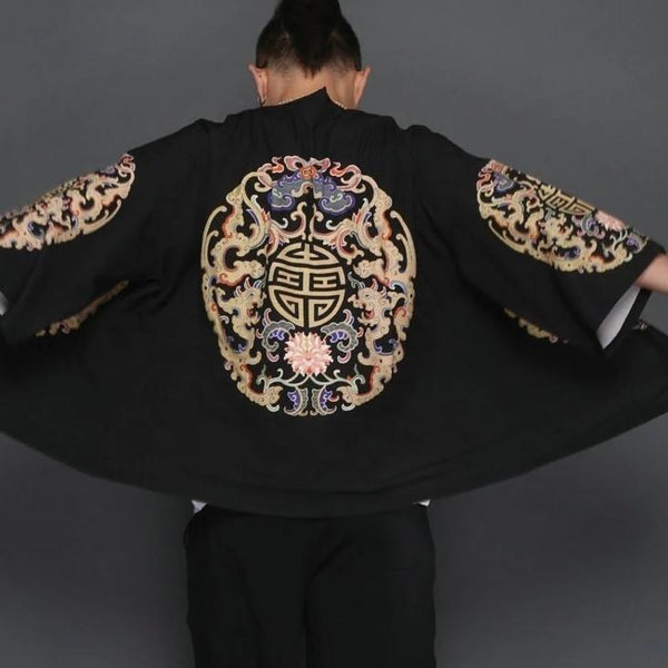Black kimono jacket with brain pattern close up back view