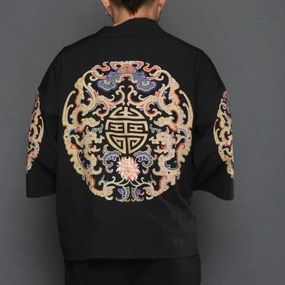 Black kimono jacket with brain pattern back view