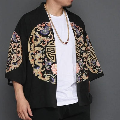 Black kimono jacket with brain pattern front side view