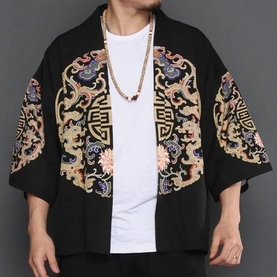 Black kimono jacket with brain pattern front view