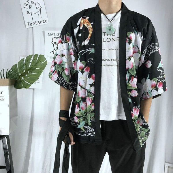 Black Koi carp and sakura japanese kimono jacket front view