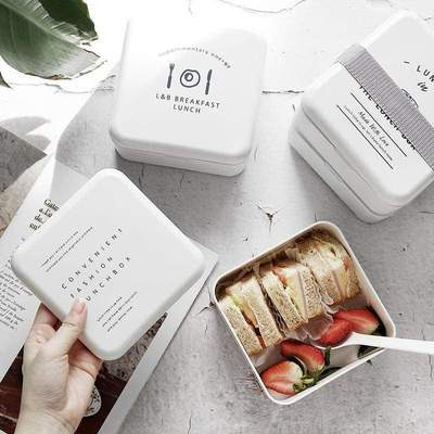 White Bento Box With Cutlery