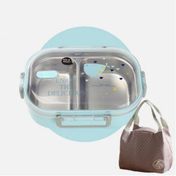 Kawaii Stainless Steel Bento Box blue with bento bag