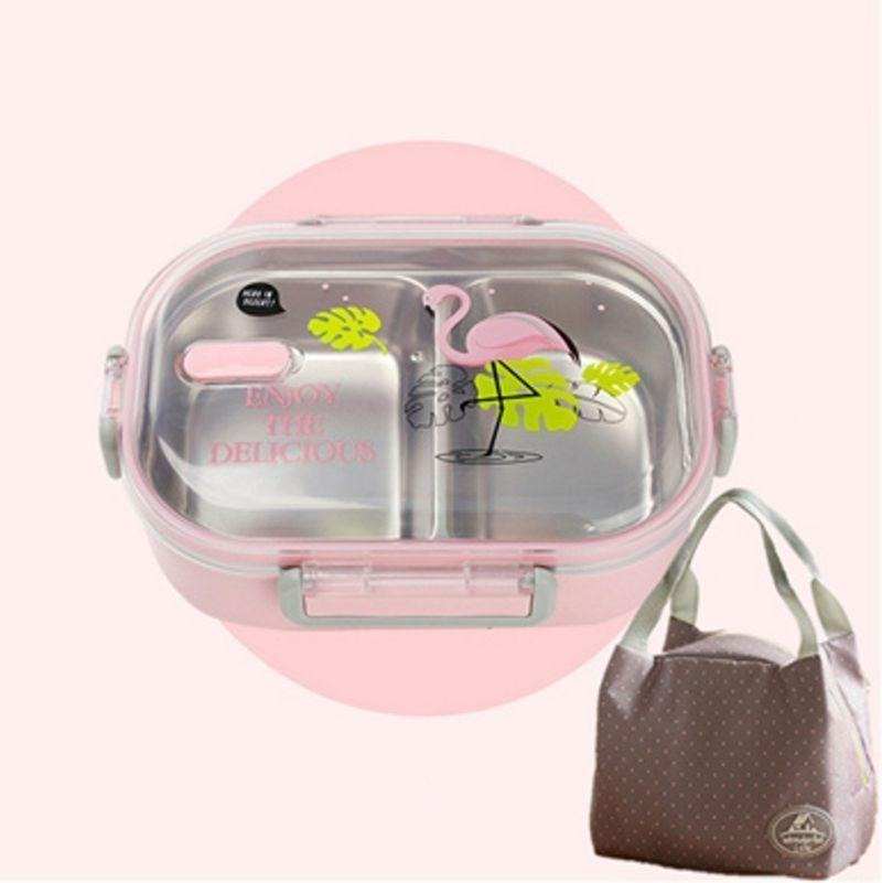 Kawaii Stainless Steel Bento Box pink with bag