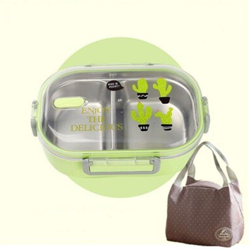 Kawaii Stainless Steel Bento Box green with bag