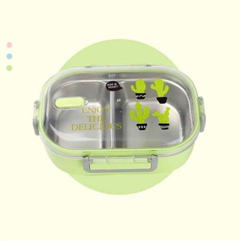 Kawaii Stainless Steel Bento Box green