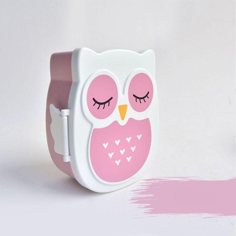 Kawaii Owl Bento Box pink