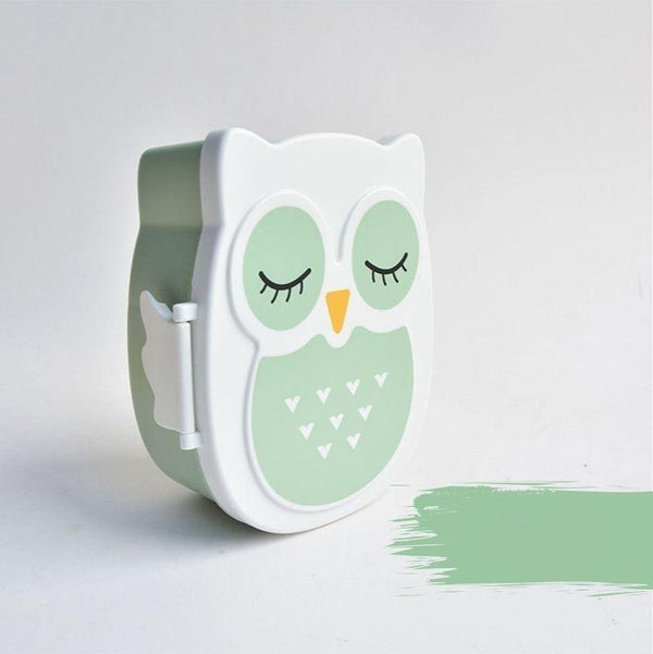 Kawaii Owl Bento Box green