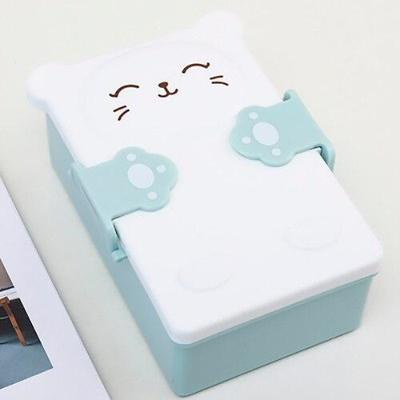 Kawaii Kitty Bento Box green