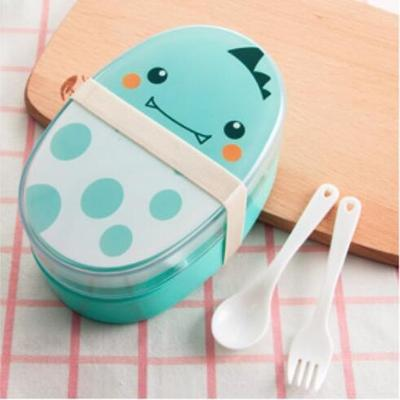 Kawaii Oval Bento Box blue
