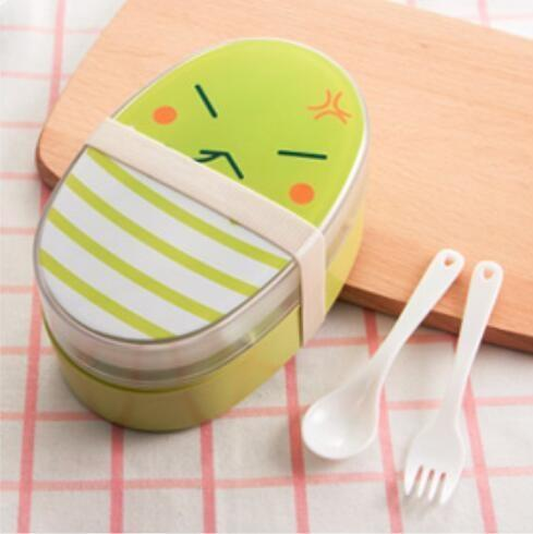 Kawaii Oval Bento Box green