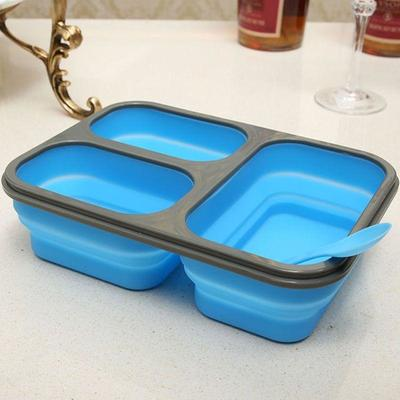 Folding Trio Bento Box blue