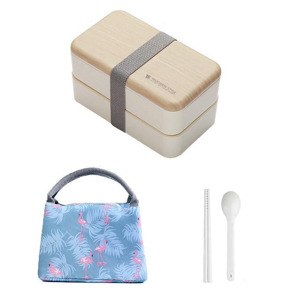 Wooden Style Bento Box white with bag