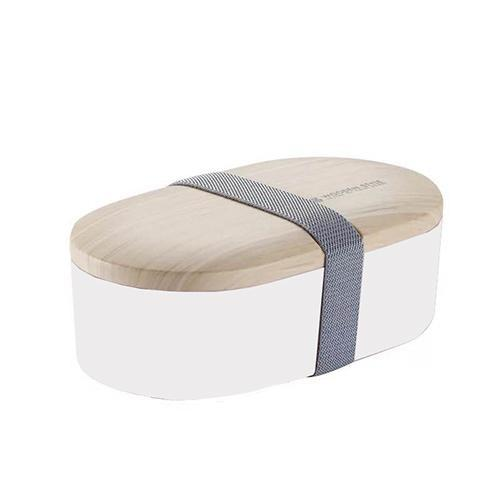 Wooden Style Oval Bento Box white