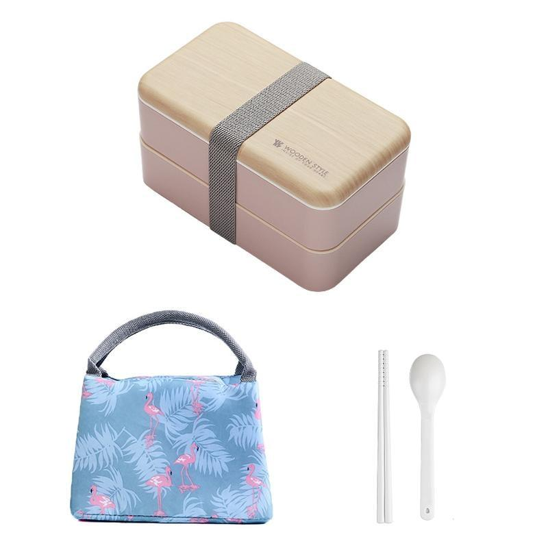 Wooden Style Bento Box pink with bag