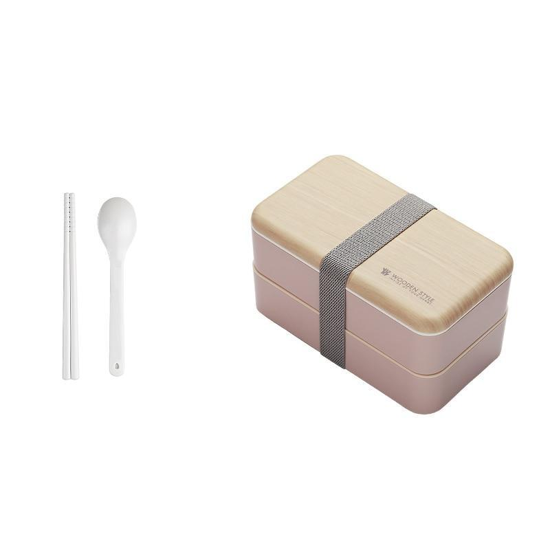 Wooden Style Bento Box pink