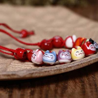 Japanese Cats Lucky red Bracelet for women