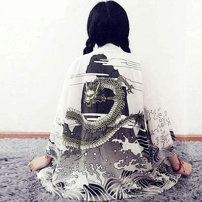 Japanese Dragon white Kimono Cardigan Woman back view