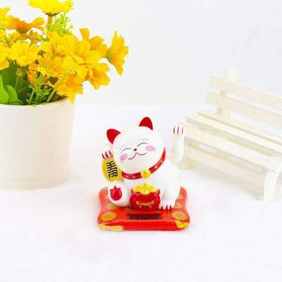 Japanese red cat solar lucky charm