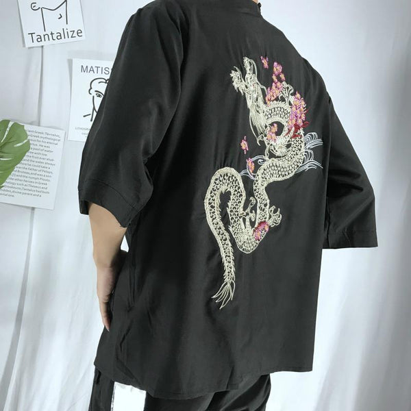 Dragon on the back japanese kimono jacket side back view
