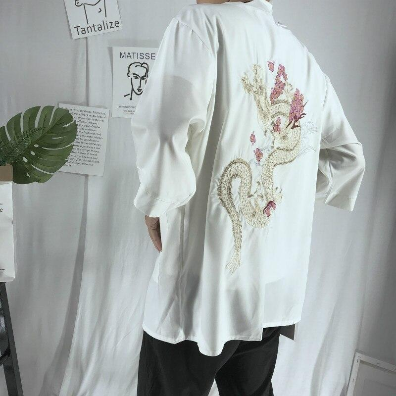 Dragon on the back japanese kimono jacket white color side back view