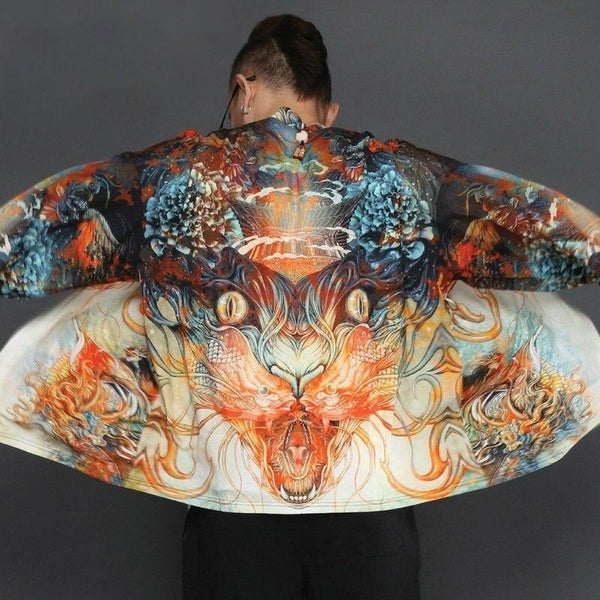 Dragon yokai japanese kimono jacket back view