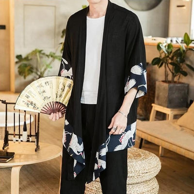 Elegant japanese kimono jacket with fan black color front view