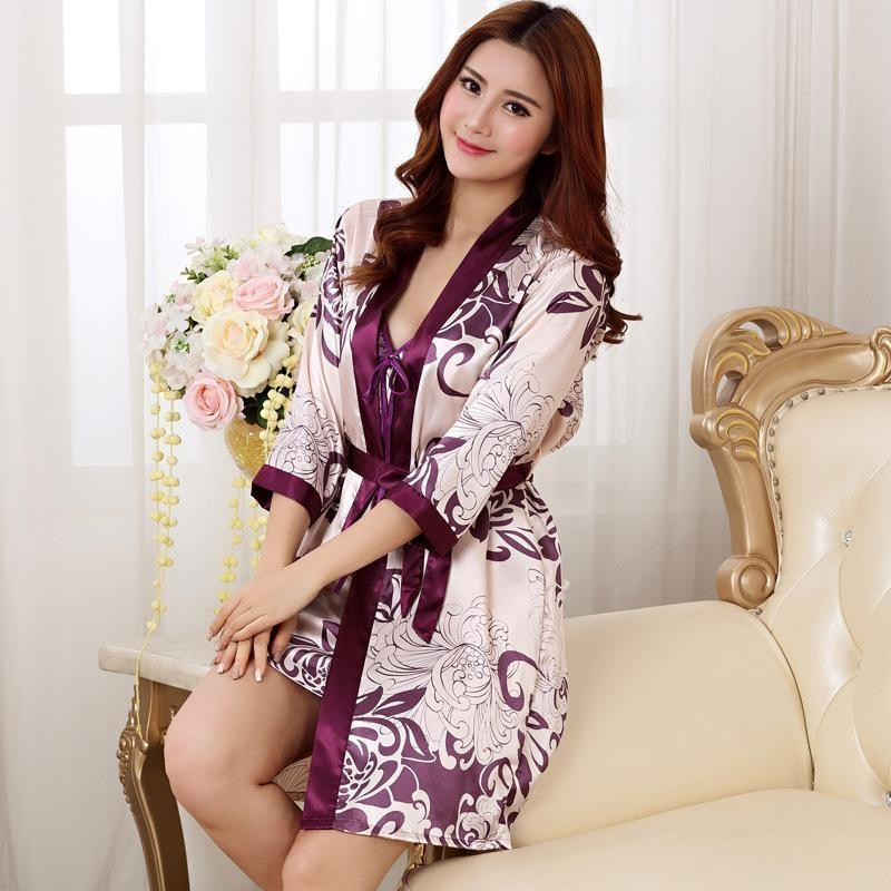 sexy japanese Women's Kimono Pajamas Set Purple lateral view