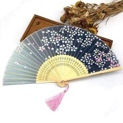 Japanese Bamboo Silk & Sakura Blossom Fan blue