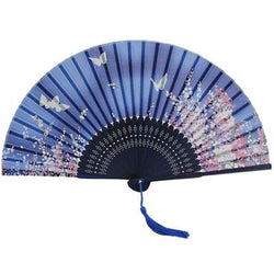 Blue Japanese Fan with Flowers and Butterflies