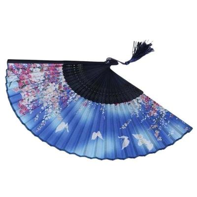 Blue Japanese Fan with Flowers and Butterflies decoration or use