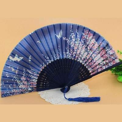 Blue Traditional Japanese Fan with Flowers and Butterflies