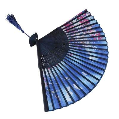 Blue Japanese Fan with Flowers and Butterflies geisha style