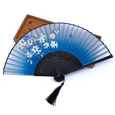 Japanese Blossom Fan blue