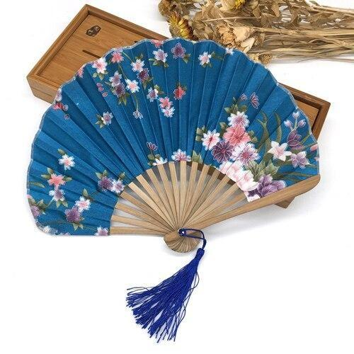 Japanese Light Blue Silk Fan