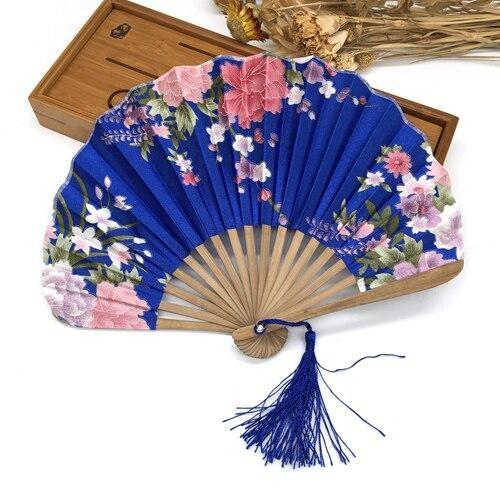 Japanese Blue Silk Fan